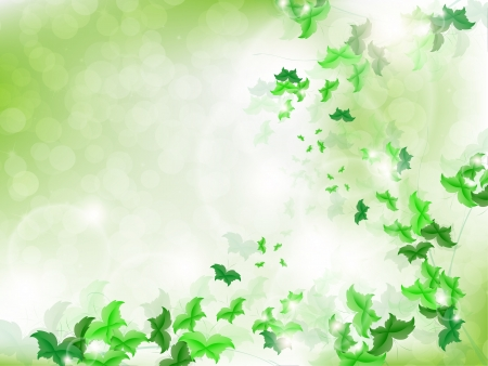 Environmental Background with green leaf butterflies on a light green background with bokeh lights. Stock Vector - 17965693