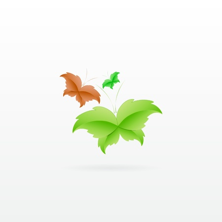 Leaf Butterfly Concept with 3 different colors Stock Vector - 17965685