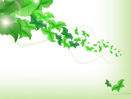 Environmental Background with green leaf butterflies on a light green background. Stock Vector - 17965699