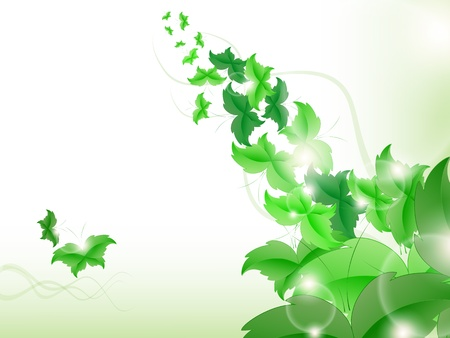 Environmental Background with green leaf butterflies on a light green background. Stock Vector - 17965687