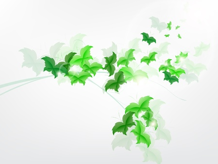 Environmental Background with green leaf butterflies on a light green background. Vector