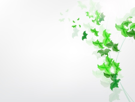 Environmental Background with green leaf butterflies on a light green background. Stock Vector - 17965692