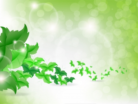 Environmental Background with green leaf butterflies on a light green background with bokeh lights. Vector
