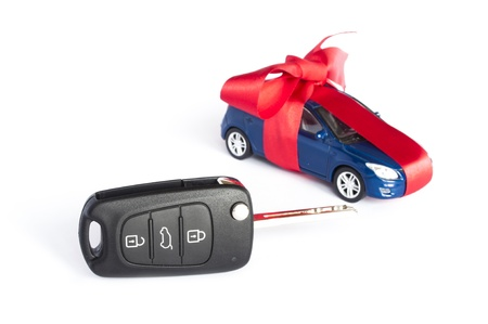 blue bow: Gift car concept with red Bow and car key on focus