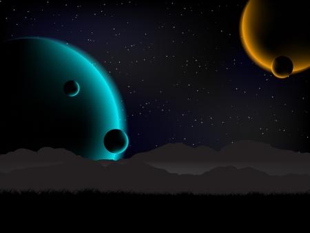 science fiction: Science fiction achtergrond weergave met 4 planeten van de aarde.
