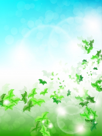 ine: Spring Background with leaf Butterflies on a fresh background Illustration