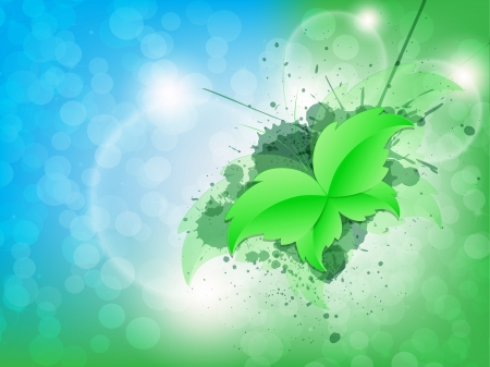 Green Leaf Butterfly on a Background in two colors Stock Vector - 18057545