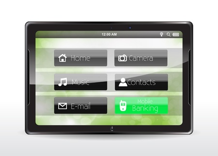 Tablet concept with a green