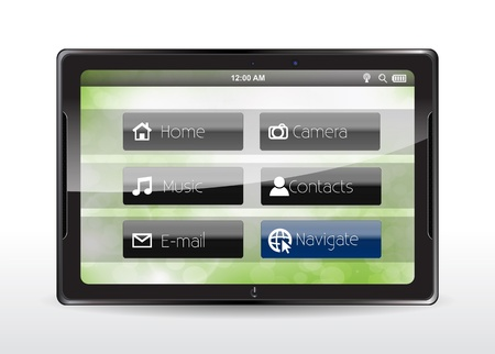 to navigate: Tablet concept with a blue Navigate button