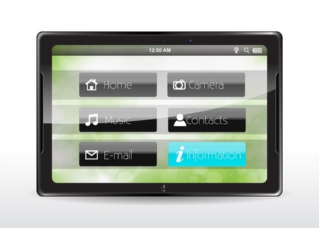 Tablet concept with a blue Information button Vector