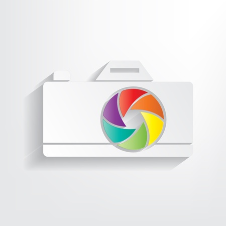 Sticker camera with color aperture on a grey background Vector