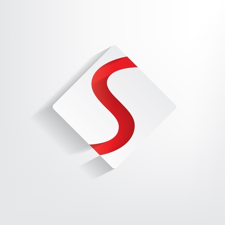 letter s: Letter W paper sticker with red S