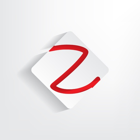 insertion: Letter Z as a sticker with a red insertion