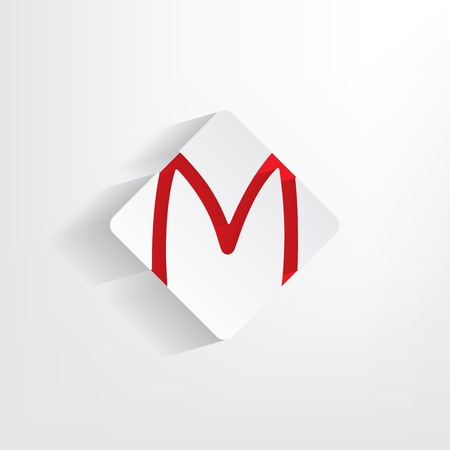 insertion: Letter M as a sticker with a red insertion Illustration