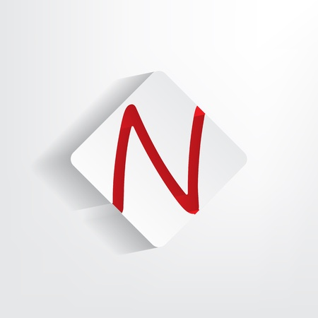 Letter N as a sticker with a red insertion Vector