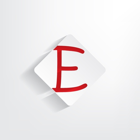 insertion: Letter E as a sticker with a red insertion Illustration