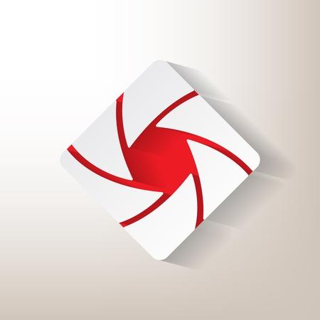 Sticker mit einer Öffnung designwith roten Insertionen Vektorgrafik