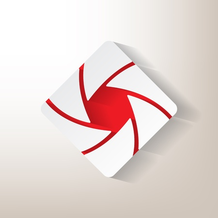 shutter aperture: Sticker with an aperture designwith red insertions