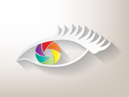 human photography: Multicolored aperture eye with big shadow