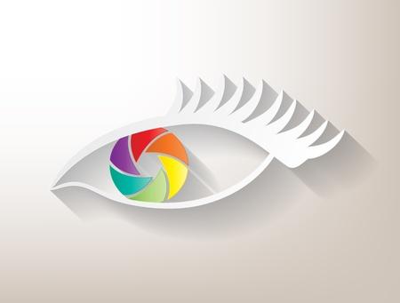 photo artistique: Oeil ouverture multicolore avec grande ombre