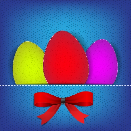 Easter background with stiched eggs and colorful bows Vector