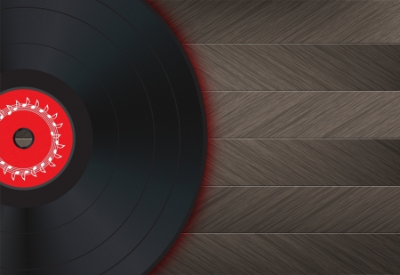 Vinyl Music Background with vinyl disk in the left of the image on a wood floor.