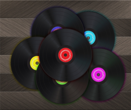 discjockey: Vinyl Music Background with many vinyl disks in center of the image on a wood floor. Illustration