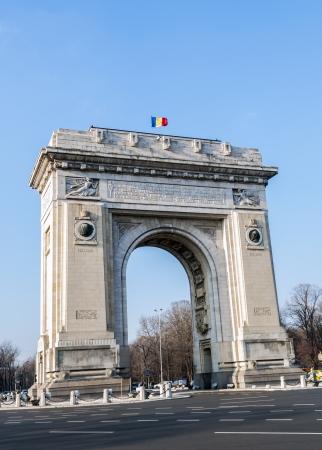 triumphe: Triumph Arch - landmark in Bucharest, Romanian capital