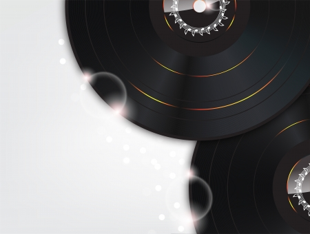 Music Background with Glow vinyl plates and sparks Vector