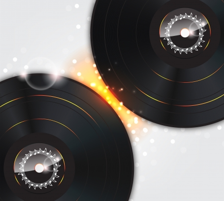 Music Background with Glow vinyl plates and sparks. Vector