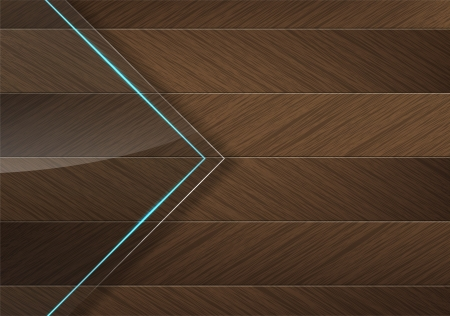 Glass panel with a blue neon light over a brown wood background Vector