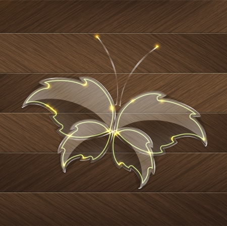 Leaf Glass butterfly with a yellow neon light over a brown wood background Vector