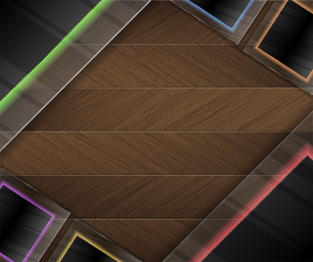 Colorful Neon glass and wood background Vector
