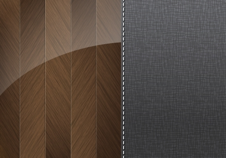 Glossy wood and textile background with space for text Vector