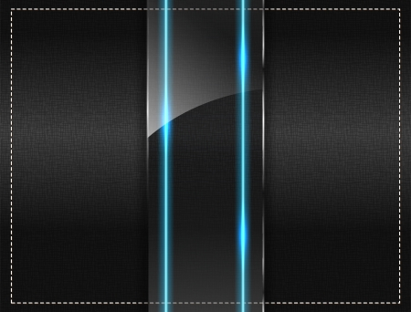 glass panel: Textile background with a glass panel and a blue neon light Illustration