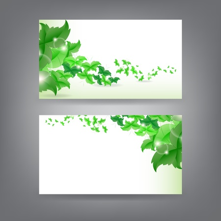 Environment theme business card template with green Butterfly leaf. Stock Vector - 18384275