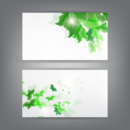 Environment theme business card template with green Butterfly leaf. Stock Vector - 18384281