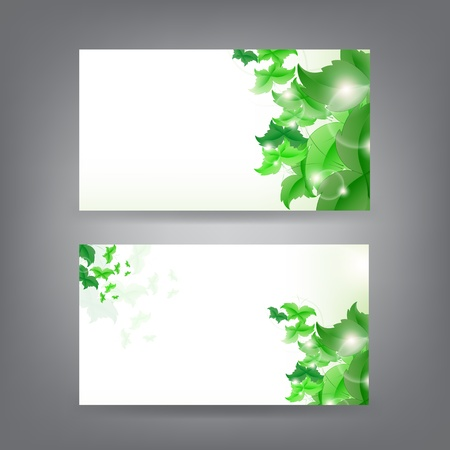 Environment theme business card template with green Butterfly leaf. Stock Vector - 18384274