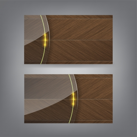 corporate gift: Wood and neon glass theme business card template (Part 3)