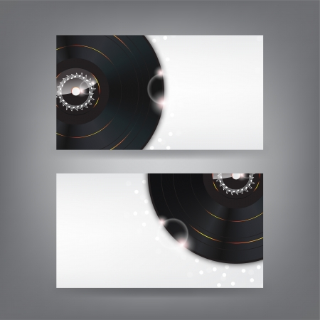 Music theme business card template with vinyl disks (Part 1) Vector