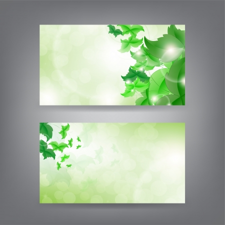 Environment theme business card template with green Butterfly leaf. Vector