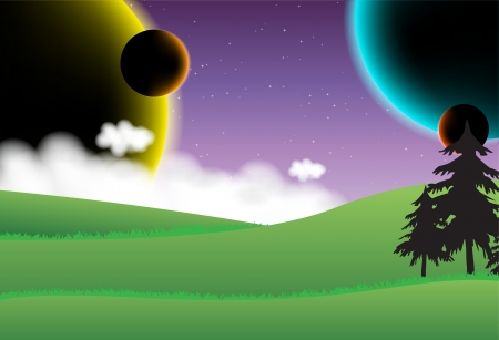 sf: Landscape with four planets on the sky