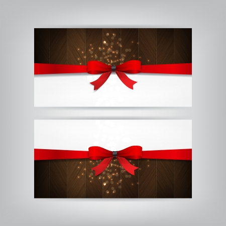 Holiday Banners with a red bow and brown wood. Vector