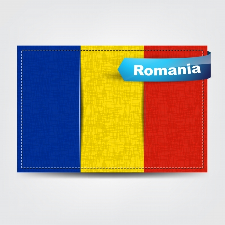 Fabric texture of the flag of Romania with a blue bow. Stock Vector - 18541999