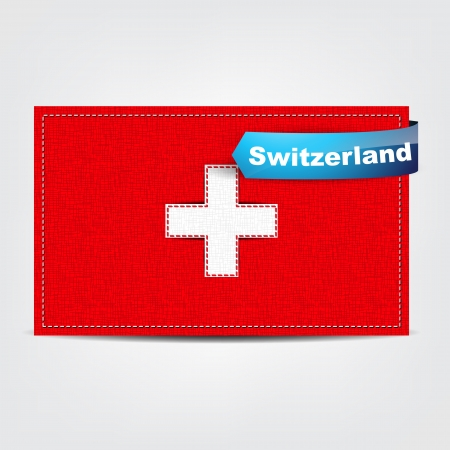 Fabric texture of the flag of Switzerland with a blue bow. Stock Vector - 18542001