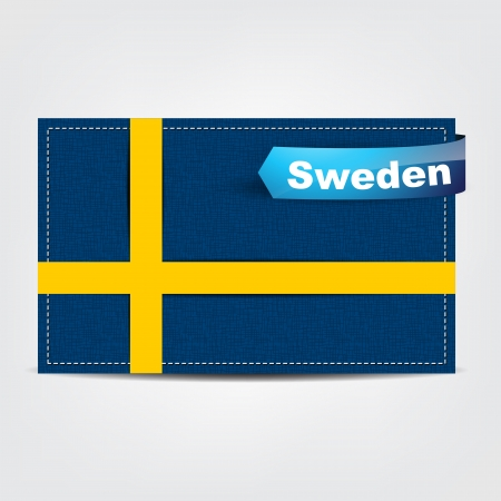 sweden flag: Fabric texture of the flag of Sweden with a blue bow.