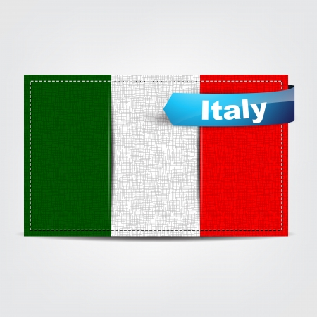 Fabric texture of the flag of Italy with a blue bow. Vector