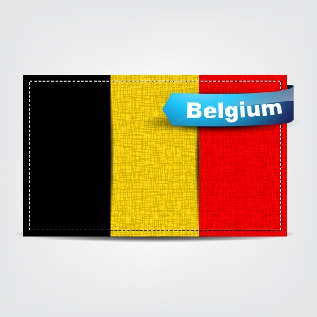 Fabric texture of the flag of Belgium with a blue bow. Vector