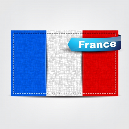 Fabric texture of the flag of France with a blue bow. Stock Vector - 18541983