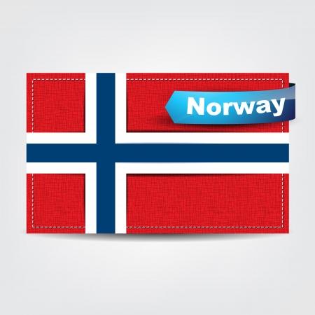 uefa: Fabric texture der Flagge von Norwegen mit einem blauen Bogen.
